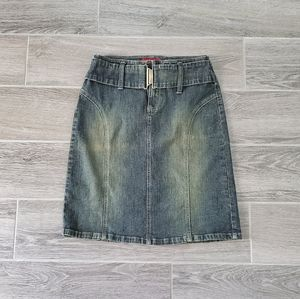 Y2K Vintage !It Jeans Denim Blu Jean Skirt w/ Slit
